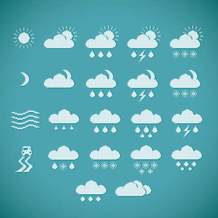 drizzling rain: Pixel weather icons on blue vintage background Illustration