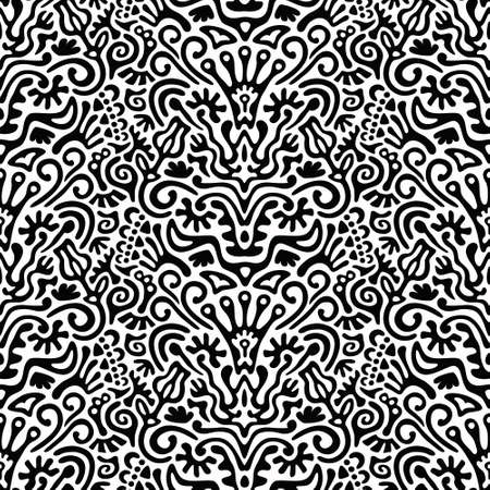 catchy: Funny Black and White Seamless Pattern Background with Flowers, Leaves, Hearts on Light Background