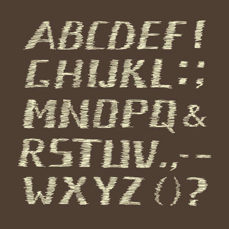 Handwritten Chalk Alphabet on Brown  Background