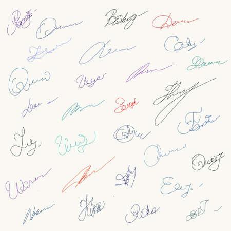 signatures: Set of unique hanwritten signatures Illustration
