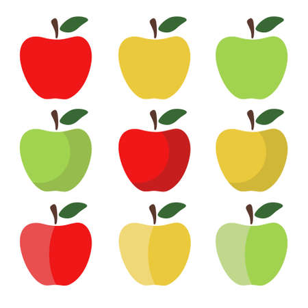 yellow apple: Set of Red, Green and Yellow Apple Icons on white