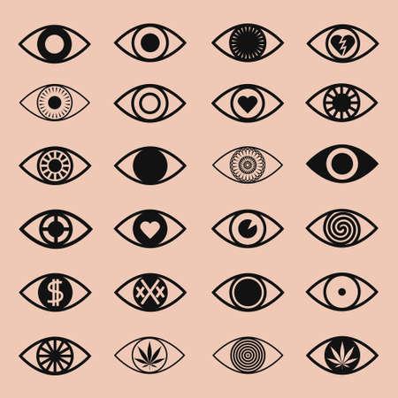 様々 な目のアイコンのピンクの背景を設定します。  イラスト・ベクター素材