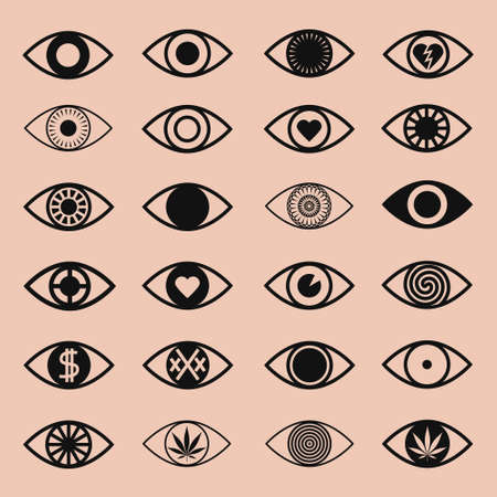 eye icon: Set of Various Eye Icons on Pink Background