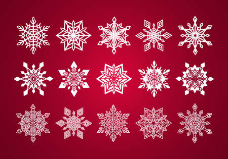 Set of Various Fine Lace Snowflakes for Christmas on Deep Red Background Vettoriali