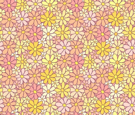 careless: Tender Cartoon Flower Pattern with Careless Hand Drawn Lining, background