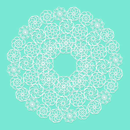 servilleta de papel: Blanca servilleta de encaje sobre fondo azul