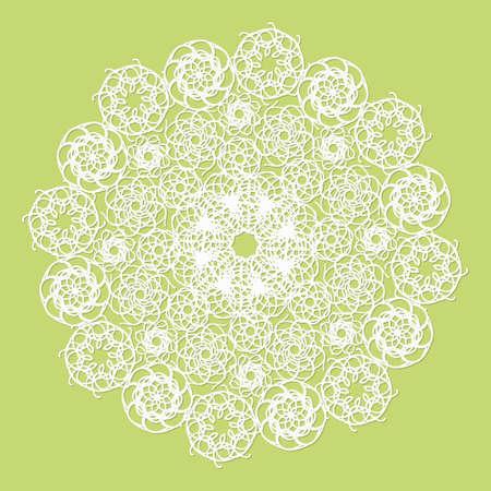 servilleta de papel: Blanca servilleta de encaje sobre fondo verde Vectores