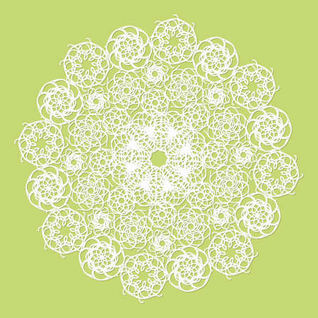 serviette: White lace serviette on green background