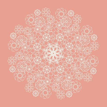 servilleta de papel: Blanca servilleta de encaje sobre fondo de color rosa Vectores