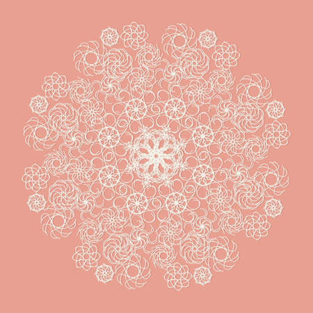 serviette: White lace serviette on pink background