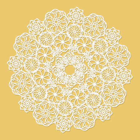 serviette: White lace serviette on yellow background