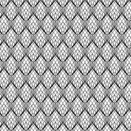 Abstract Black Line Lace Pattern on white, vector