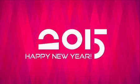catchy: Abstract Flat Happy New Year 2015 Banner with Geometric Background in Shades of Red and Lilac
