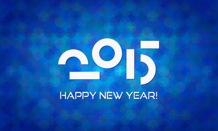 happy new year banner: Abstract Minimalistic Happy New Year 2015 Banner with Deep Blue Background