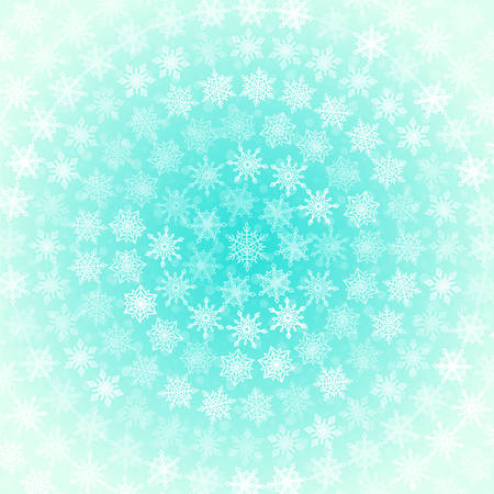 greenish blue: Background from White Snowflakes in Concentric Circles on Light Greenish Blue
