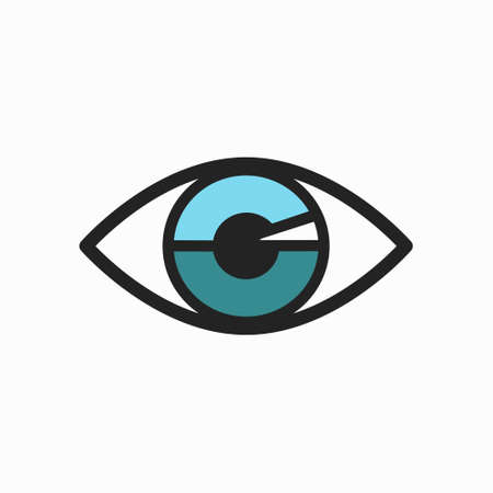 lining: Blue Eye Icon with Black Lining, isolated