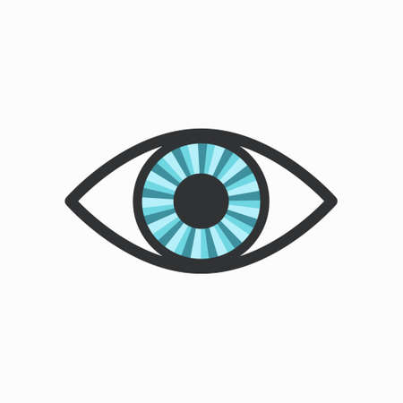 catchy: Blue Radiant Eye Icon with Dark Lining, isolated