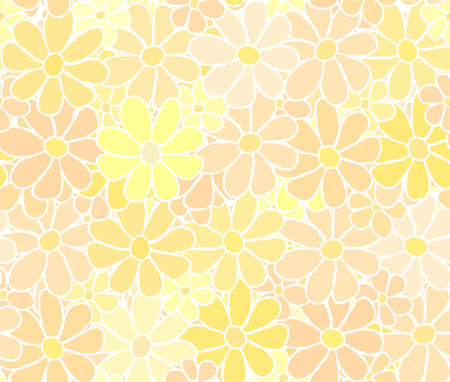 careless: Cartoon Flower Pattern with Careless White Hand Drawn Lining, background Illustration