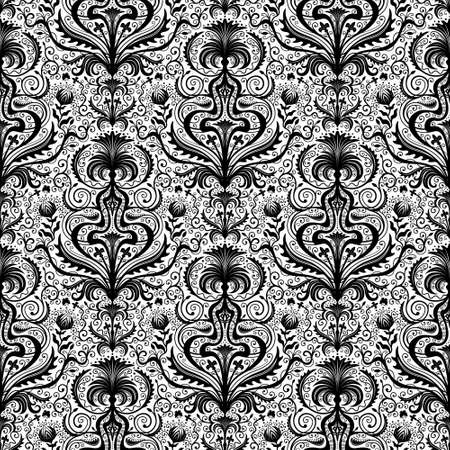elaborate: Elaborate Luxury Black Seamless Damask Floral Pattern with Flowers and Leaves on White Background