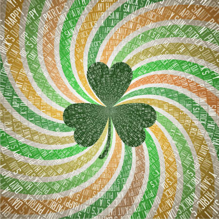 all saint day: Happy Saint Patricks Day Greeting Card with Clover Leaf on Abstract Geometric Background with Fanning Twirl Rays in Vintage Shades of Green and Orange Irish Flag. All on separate layers, easy to edit