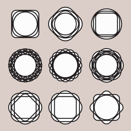 white backing: Set of Round Black Line Design Vintage Frames or Badges with Easily Editable White Backing on Grey Background. The white base can be instantly removed with direct selection tool