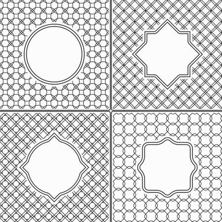 saved: Set of Thin Line Vintage Frames on Black and White Abstract Geometric Retro Backgrounds Saved as Seamless Patterns in Swatch Panel, easily editable, can also be labels or badges Illustration