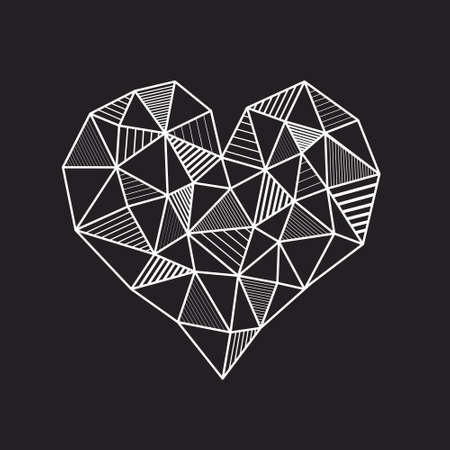 layered: Vector abstract geometric white heart from polygons with line hatching on dark background, isolated, layered Illustration