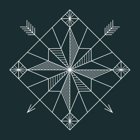 feathered: Abstact geometric white line navigation star with hatching and hipster arrows