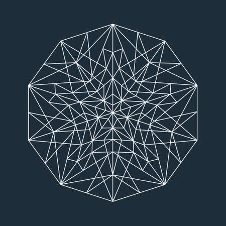 diamond shape: Vector white abstract geometric low poly line design star with empty polygons on dark blue background, isolated, layered Illustration