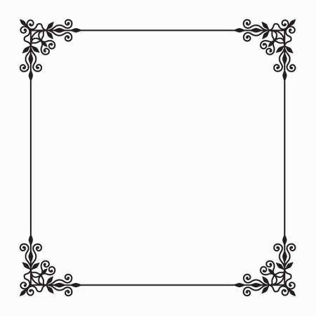 Elegant Vector Black Twirl Calligraphic Floral Baroque Line Frame ...
