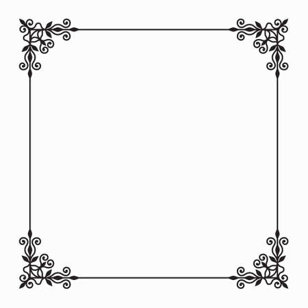 Elegant Vector Black Twirl Calligraphic Floral Baroque Line Frame with Flower and forging on White Background