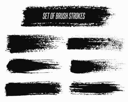 strokes: Wide vector grunge brush strokes backgrounds set for text. Distress texture, isolated, black on white. Used as banners, labels, badges templates.