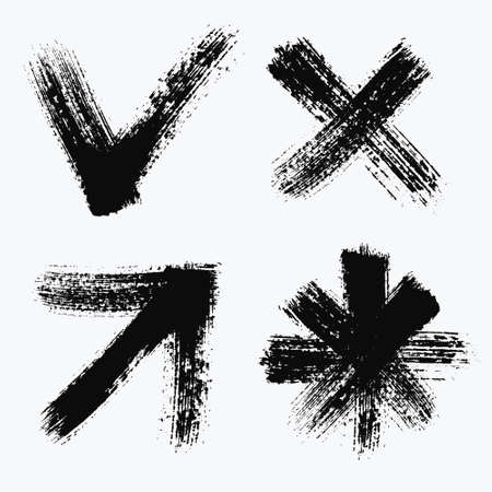 no edges: Grunge web icons set, brush texture arrow or cursor, star, check mark and cross. Isolated black on white. Decorative design elements