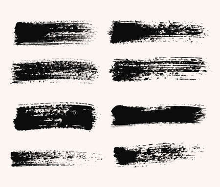 Vector grunge brush strokes backgrounds set, distress, for text. Distress texture, isolated, black on white. Used as banners, labels, badges templates.  イラスト・ベクター素材