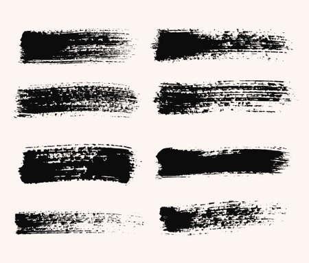 ベクター グランジ ブラシ ストロークのセット、苦痛、テキストの背景します。苦痛のテクスチャ、分離、白の上に黒です。バナー、ラベル、バッ  イラスト・ベクター素材
