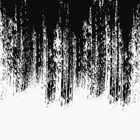 グランジのベクトルの背景、芸術的な垂直ブラシ ストローク、苦痛のテクスチャ。バナー テンプレートまたはフライヤー。分離の黒地に白