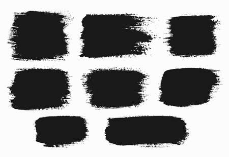 strokes: Vector grunge brush strokes backgrounds set, rectangle and square, for text. Distress texture, isolated, black on white. Used as banners, labels, badges, frames templates.