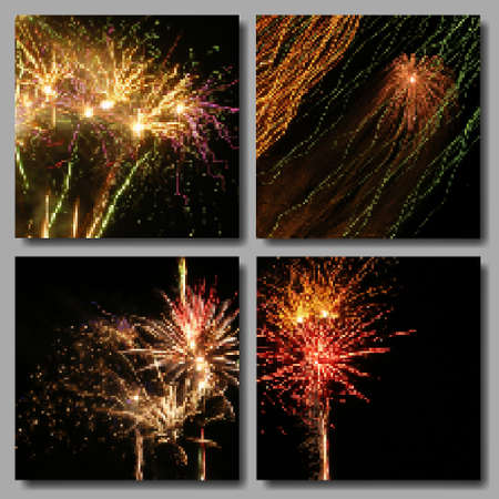 salutes: Vector Mosaic Fireworks Backgrounds Set. Four Colorful Salutes in black sky for Independence Day, Birthday or New Year Party greeting