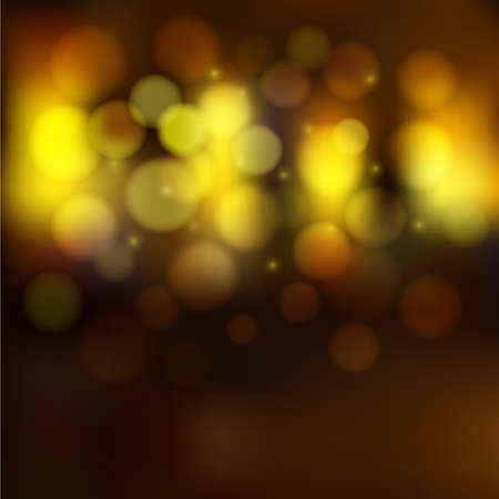 Vector Blurred Night Golden Lights, Bokeh effect and sparkles. Unclear street and shining windows background.