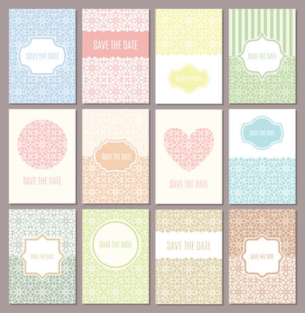 wedding reception decoration: Vector wedding invitations set. Save the date cards in retro and modern design, pastel vintage colors. Abstract flower pattern. Line frames, badges and labels. Heart and floral A4 greeting templates.