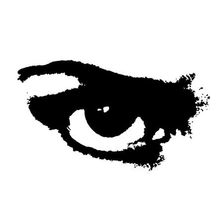 Vector grunge black and white angry eye. Isolated art element for poster, banner, card design. Evil and fury expression. Distress artistic texture
