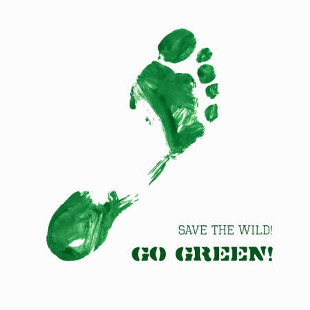 Vector Green Foot Imprint. Green ecological slogan card. Isolated trace on white background for your design. Blank space for text. Distress painted texture with visible brush strokes