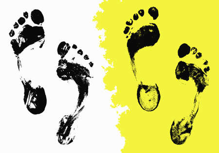 barefoot walking: Vector Black Foot Imprints Set. Grunge isolated trace on white background for your design. Distress painted texture, abstract background Illustration
