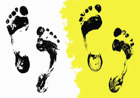 pieds sales: Vector black Imprints mis les pieds. Grunge isol� trace sur fond blanc pour votre conception. D�tresse texture peint, abstrait Illustration