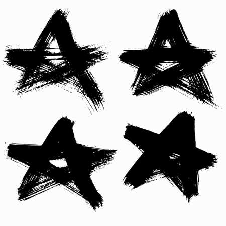 punk rock: Vector Grunge Stars Set. Brush stroke texture, stained distress style. For punk rock posters, banners, labels or cards. Dirty design