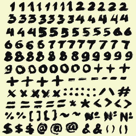 Digits Grunge Digits From Chalk And Brush Strokes Math Symbols