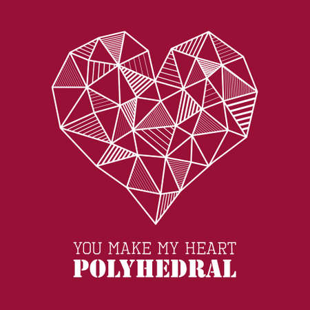 unusual valentine: Vector abstract geometric polygonal white heart with line design hatching on marsala red background, textured pattern. Unusual romantic greeting card for valentine day, date, anniversary celebration Illustration