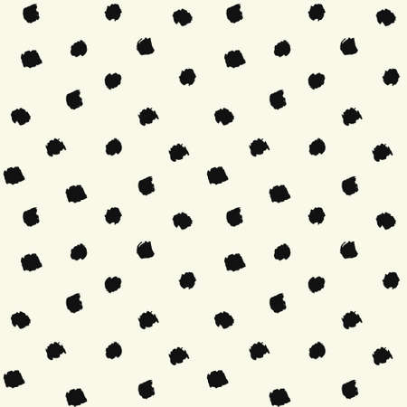 Vector Brush Strokes Painted Polka Dot Seamless Pattern. Chaotic hand drawn artistic background.Abstract art for fabric imprint. Grunge black and white textile or gift paper design.