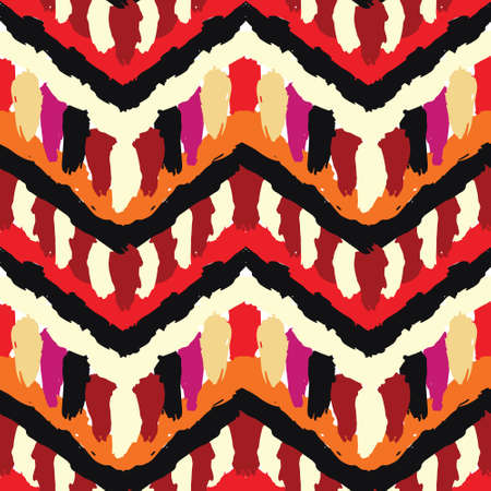 Vector catchy contrast seamless pattern, brush strokes. Ethnic tribal zigzag boho design of 70s. Hand painted texture, vibrant CMYK colors. For gift paper, birthday card, textile fabric print.