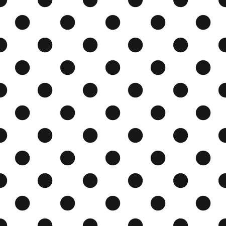 Naadloze: Black and White Polka Dot Naadloze Patroon. Klassieke achtergrond van de jaren '70. Retro geometrisch ontwerp voor visitekaartjes, brochures, website template, groet, cadeau papier, textiel, stof. Vector